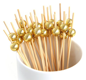 PuTwo Cocktail Toothpicks 100 Counts Cocktail Picks Handmade Natural Bamboo Cocktail Sticks Eco-Friendly Appetizer Skewers for Cocktail Appetizers Fruits Dessert - Gold Pearls