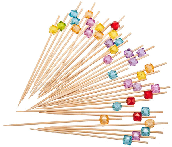 PuTwo Party Frilled Toothpicks, Sandwich, Cocktail, Appetizer Picks Party Supplies 100 Count - Multiple Color - PuTwo  - 1