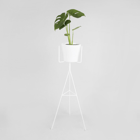 Geo plant stand in white