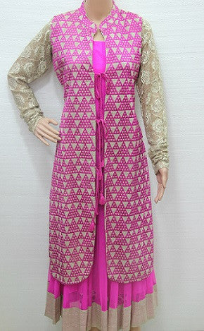 Koti Style Pink Floor Touch Gown TC3 @ 58 Taka Coupon
