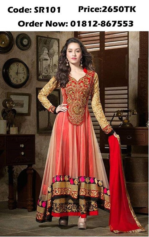 Online Dress Collection Georgette Long Three Piece ODC6 @ 26 Taka Coupon