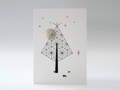 Moonlit Tree with Foxes - Silver Moon and Black Tree