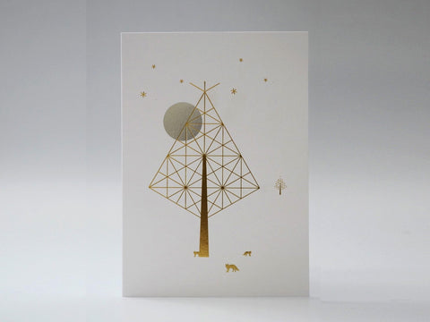 Moonlit Tree with Foxes - Silver Moon and Gold Tree