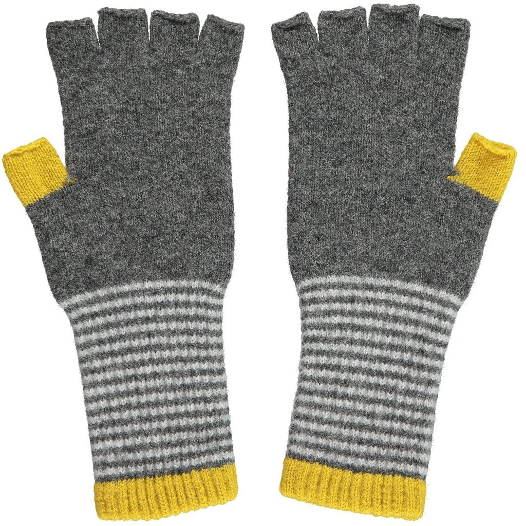 Fingerless Lambswool Gloves - Yellow & Grey
