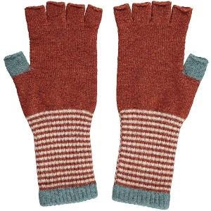 Fingerless Lambswool Gloves - Sage & Rust