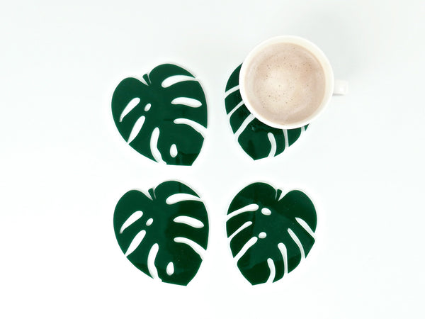 Cheese Plant Leaf Coasters - set of 4