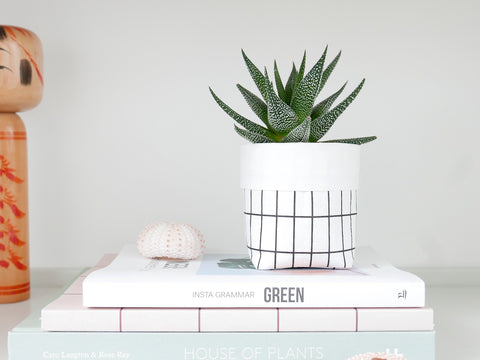 Grid Planter Rectangle - Small white
