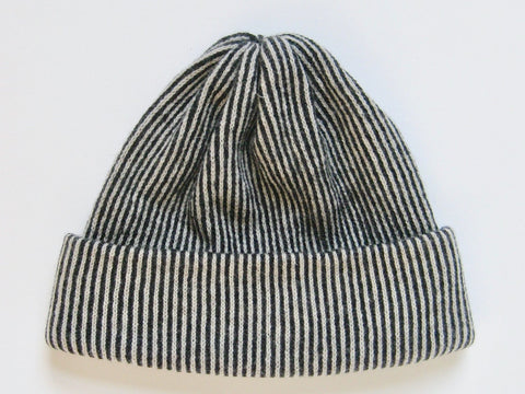 Lambs Wool Stripe Hat -  Charcoal
