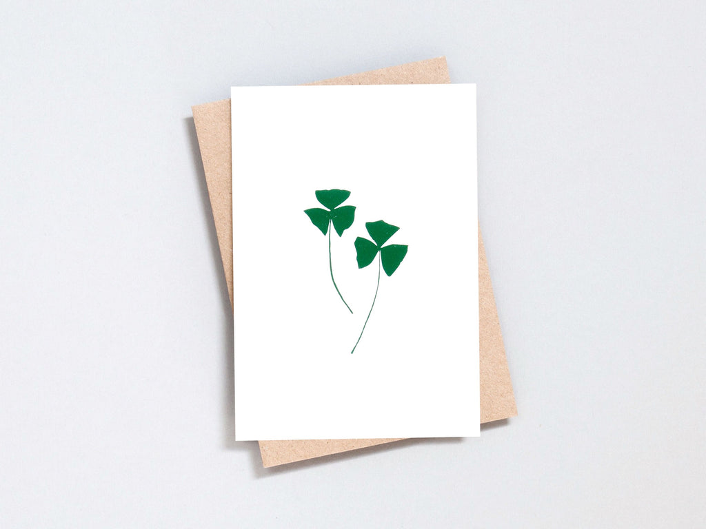 Foil blocked Oxalis  - Green on Ivory