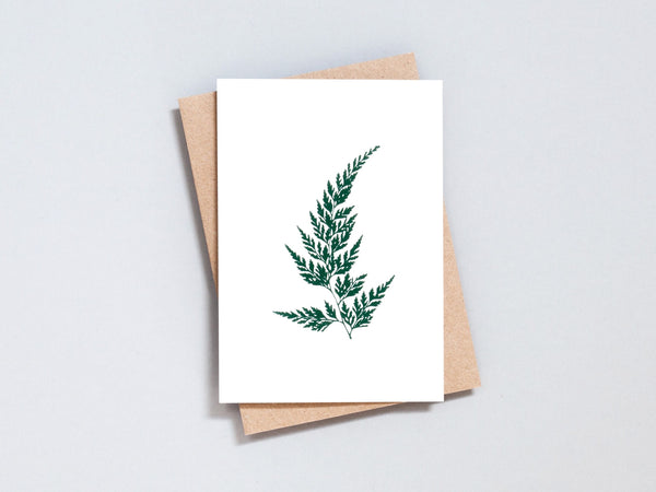 Foil blocked Wood Fern - Green on Ivory