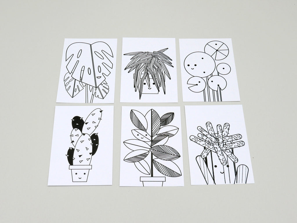 The Plant Family Colouring Postcard Set