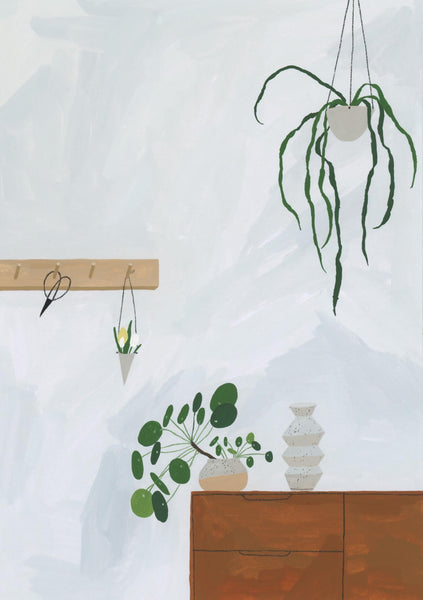 A4 Minimalist Interior Illustration Houseplants Greenery Giclee Print