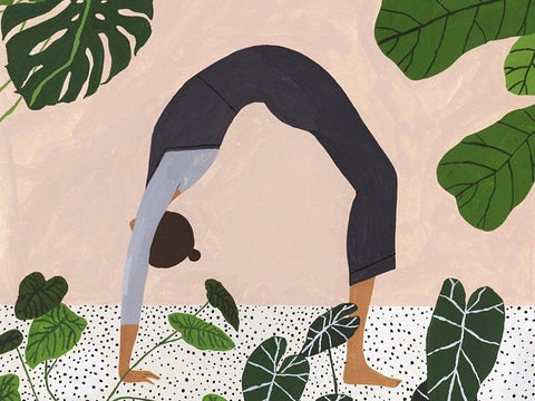 A4 Yoga Backbend Illustration Giclee Print Houseplants Monstera