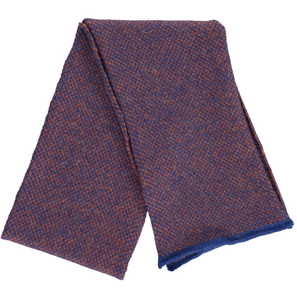 Check Lambswool Scarf - Blue