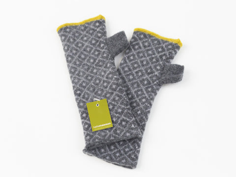 Fingerless Fair Isle Gloves Mid Grey