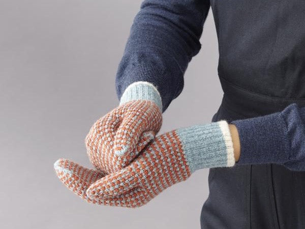 Check Lambswool Mittens - Sea Green