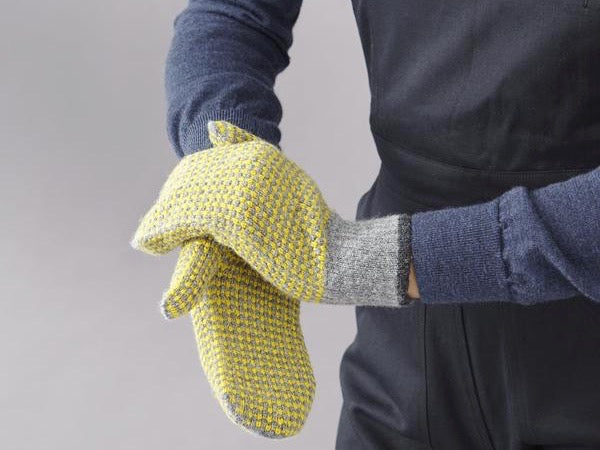 Check Lambswool Mittens - Yellow