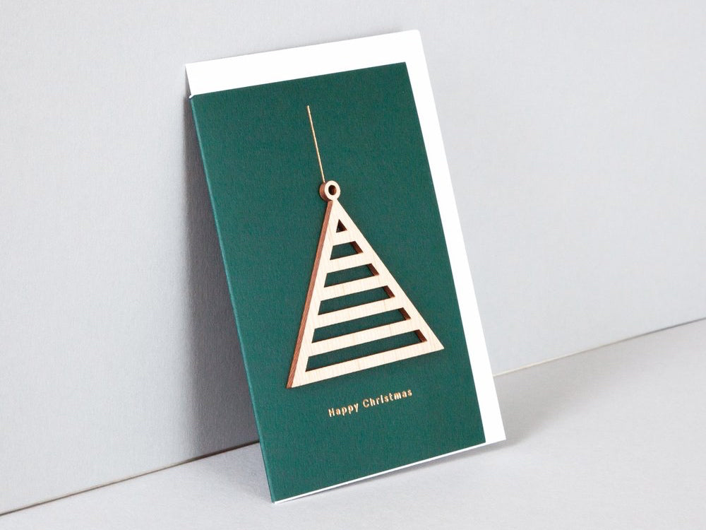 Solid Wooden Ornament Card, Triangle, Forest Green