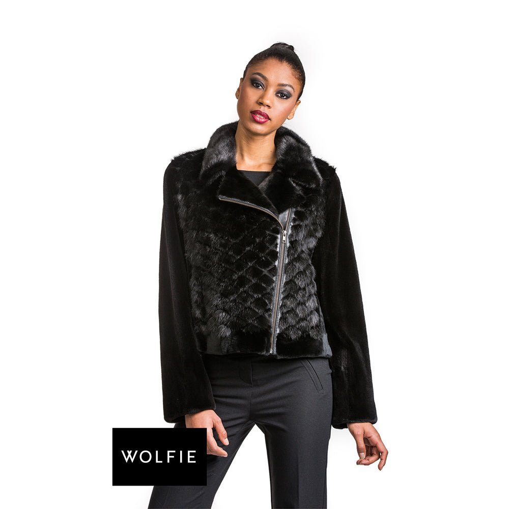 JULIA Quilted mink short jacket