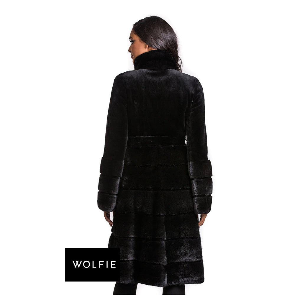 MARIA Hooded mink coat with horizontal detailed skirt