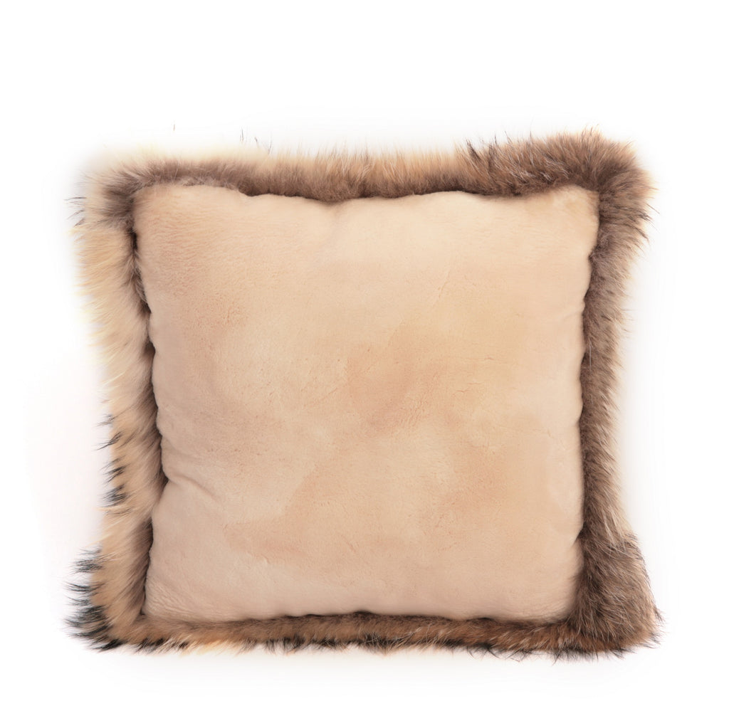 PATRICIA Sheared beaver pillow with raccoon trim