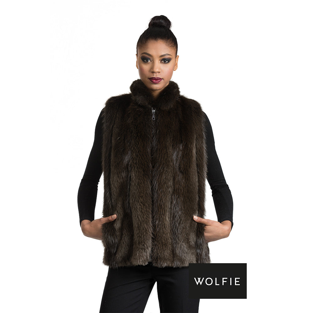 MARNI Long hair beaver fur vest