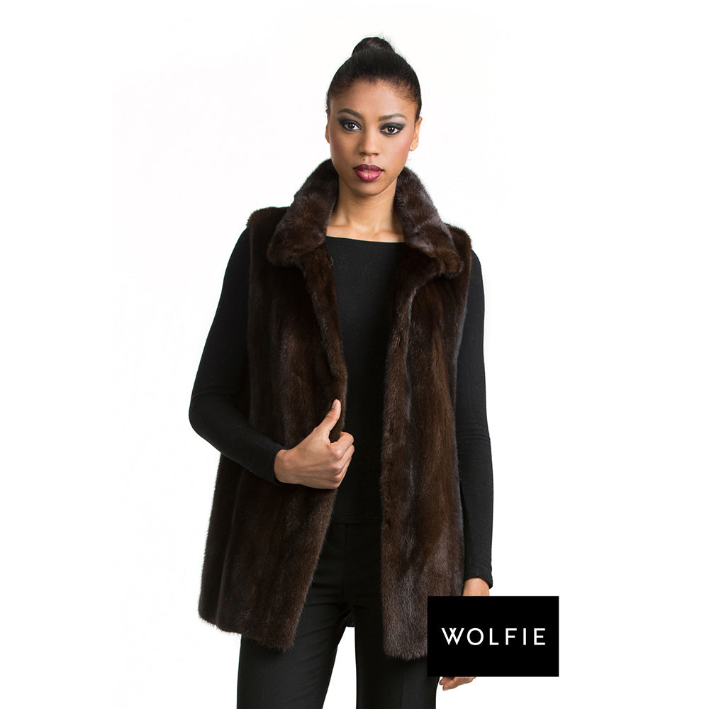 ARIZONA mink reverisble to leather vest