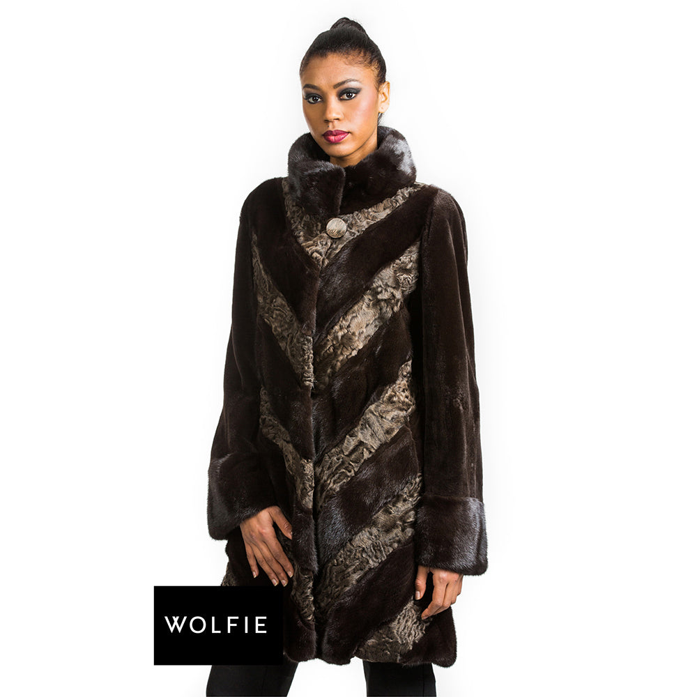 EVERLY Mink and lamb details coat