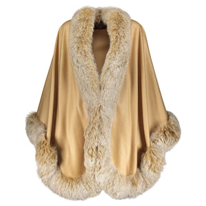 MELANIE Cashmere Cape with fox trim