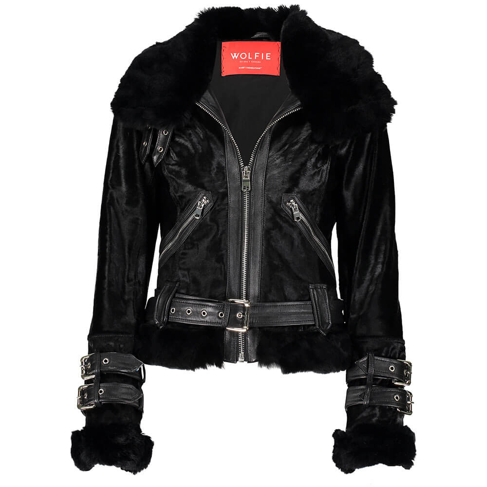 BRENDA Calf leather moto jacket with fur trim
