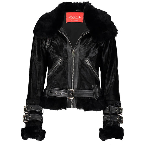 Brenda Calf Leather Moto Jacket