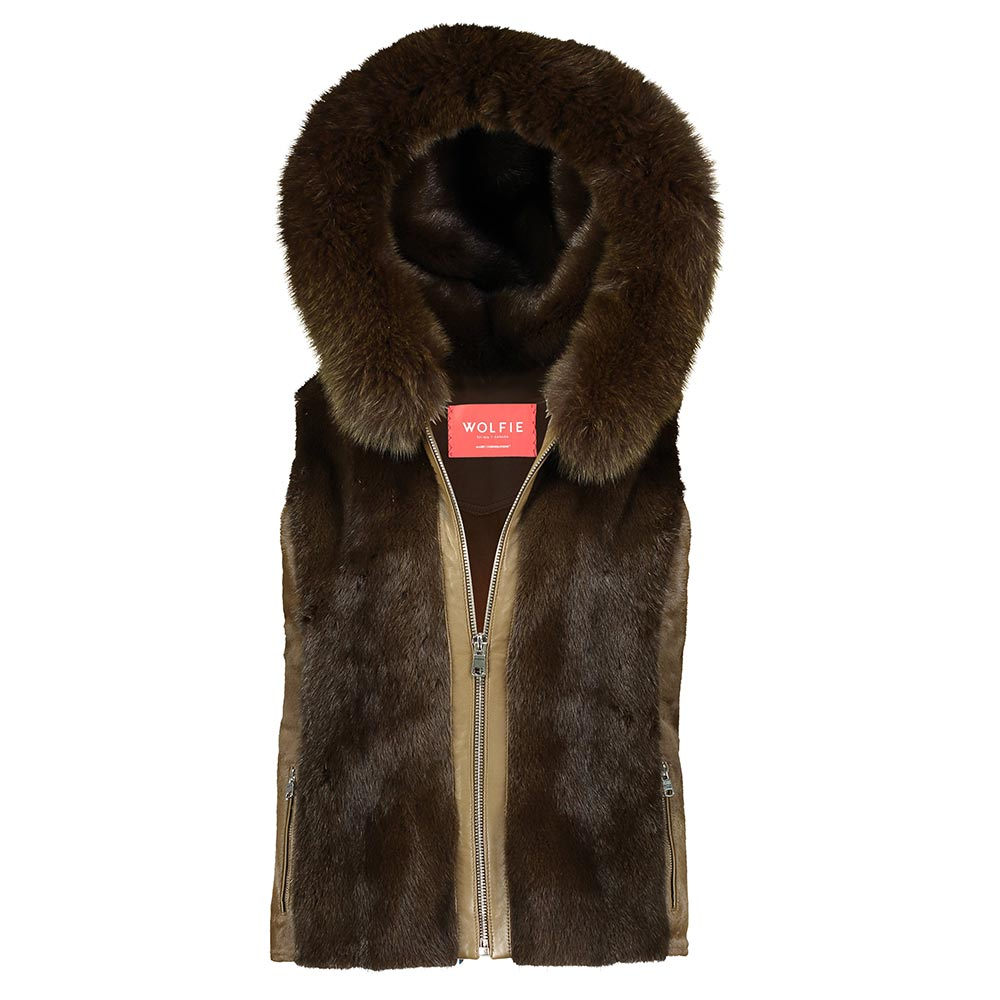DANIELLE Calf Leather and Mink Fur Vest