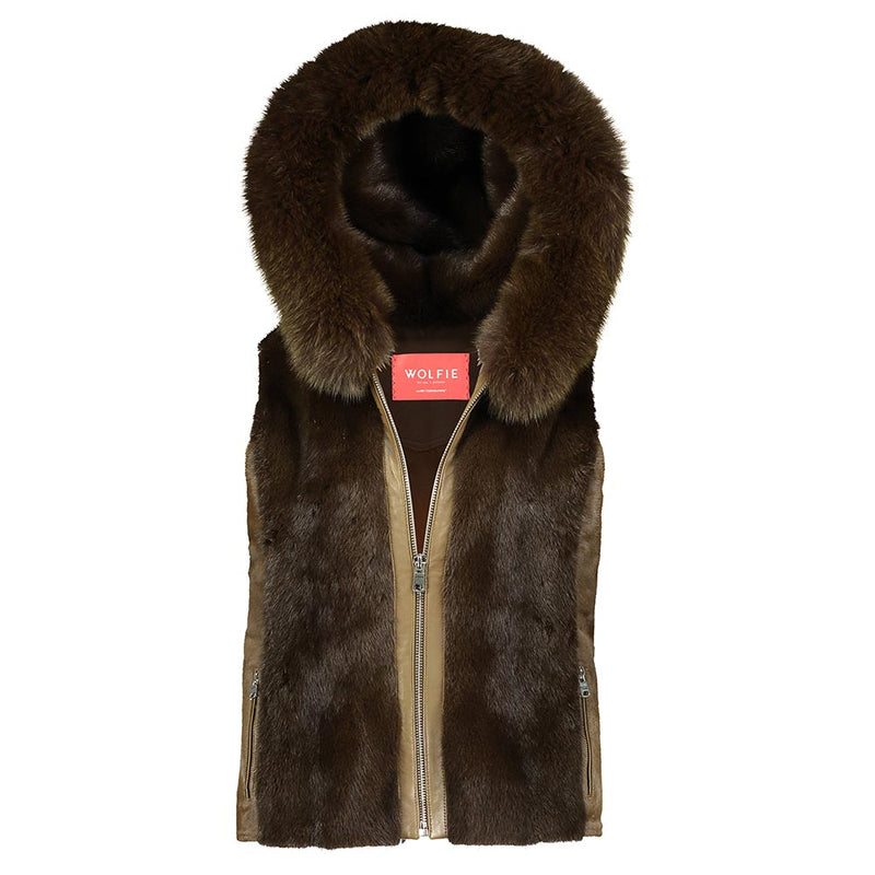 DANIELLE Calf leather hooded vest with mink fur