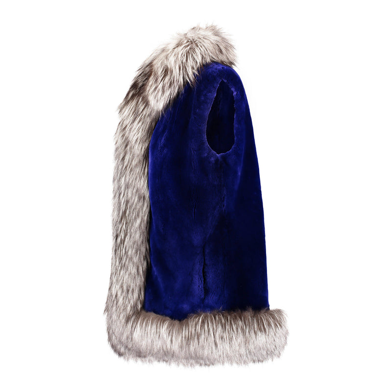 CRISTINA Sheared beaver long vest with fox fur tuxedo
