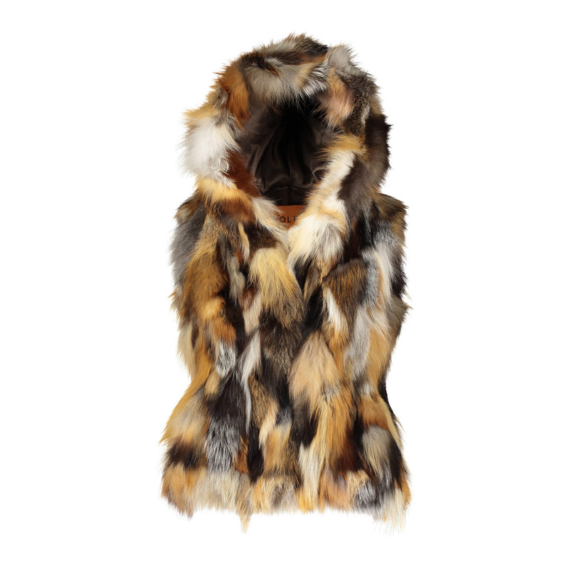 FIONA Sculpted hooded fox fur vest