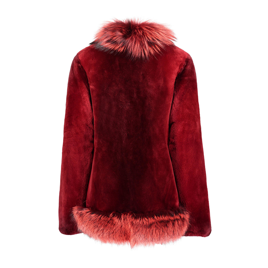 MAGGIE Sheared beaver fur jacket with fox fur tuxedo