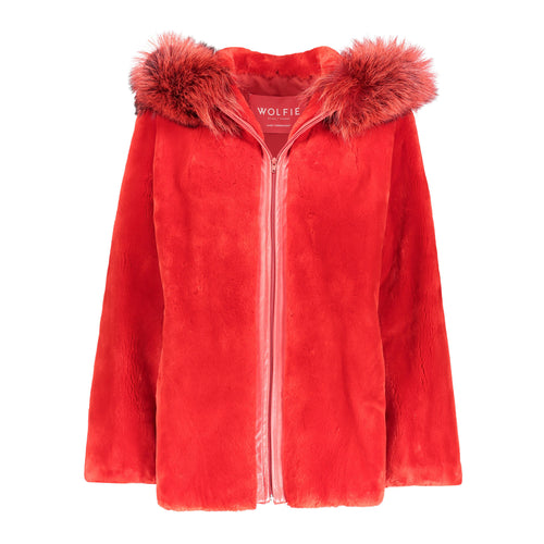 Sabrina Sheared Beaver Fur Hooded Jacket