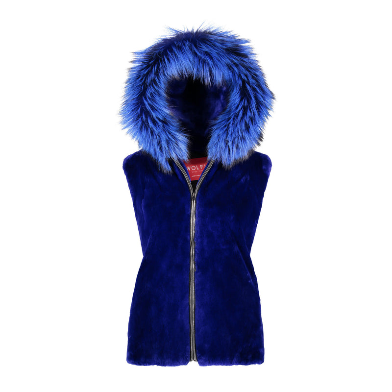 KENJA Sheared beaver hooded fur vest