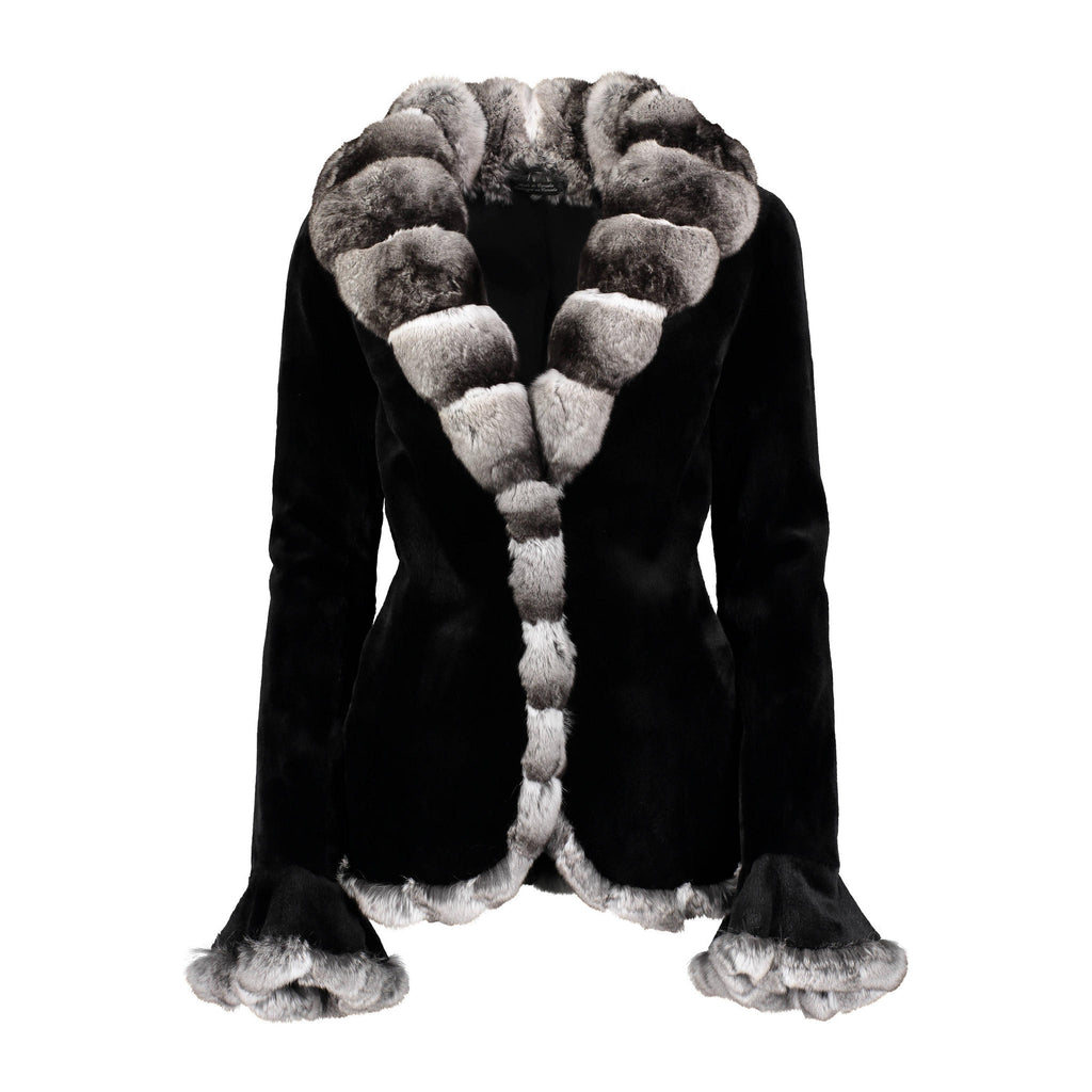 CATHERINE Mink fur jacket with chinchilla fur trims