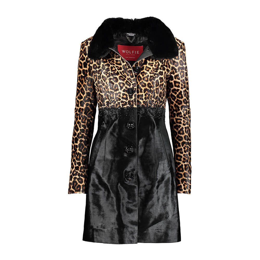 JESSICA Calf leather coat with fur collar