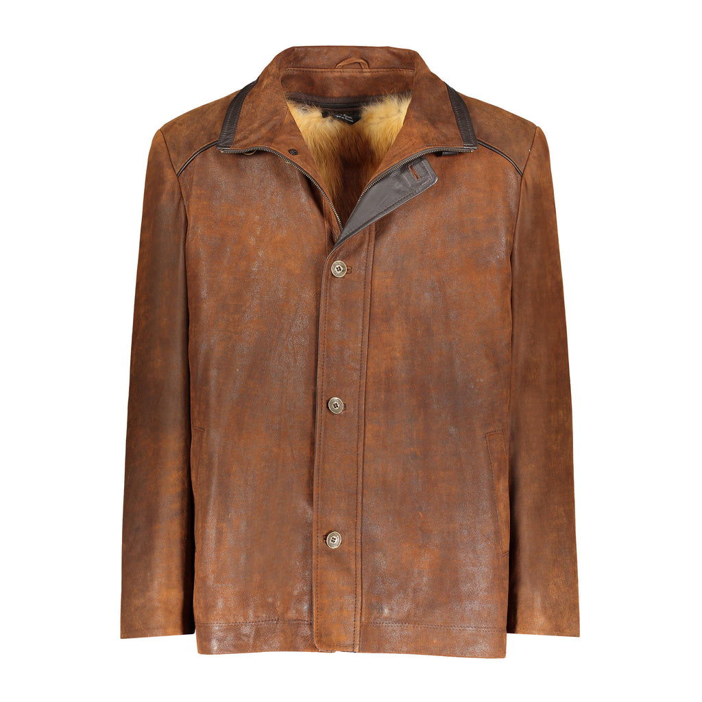 BRAD Leather jacket with fox fur lining