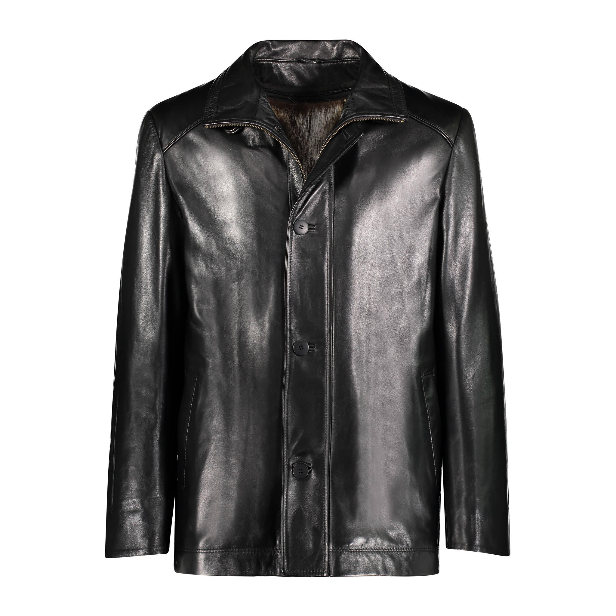 Hudson Leather Jacket with Raccoon Lining Jacket