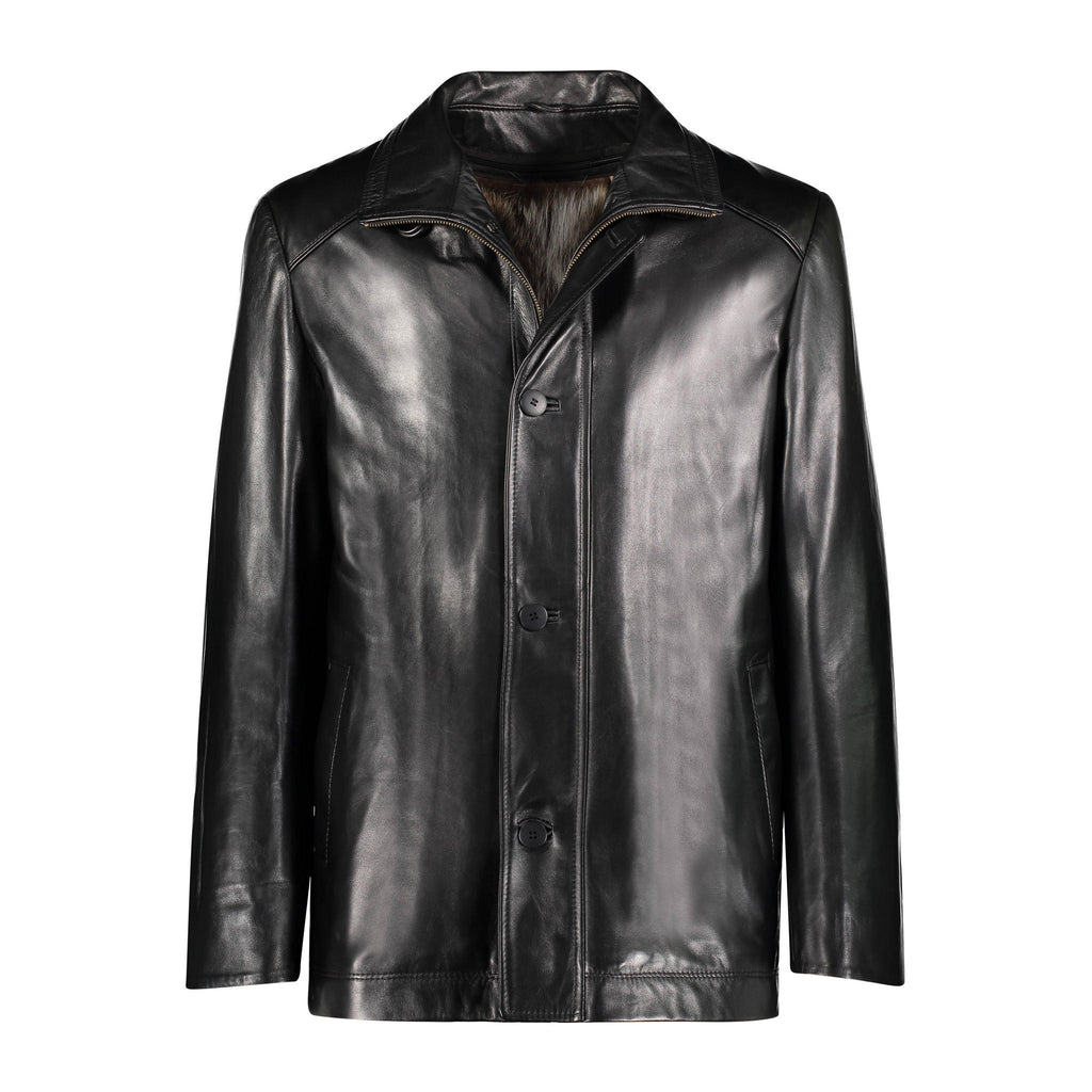 LEWIS Leather jacket with raccoon lining