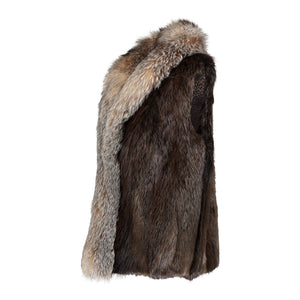 JOYCE Long hair beaver fur vest with fox fur tuxedo