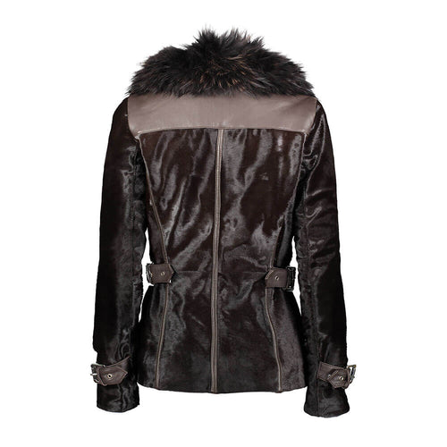 Drea Calf Leather Hooded Jacket