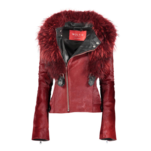 Britta Calf Leather Hooded Jacket