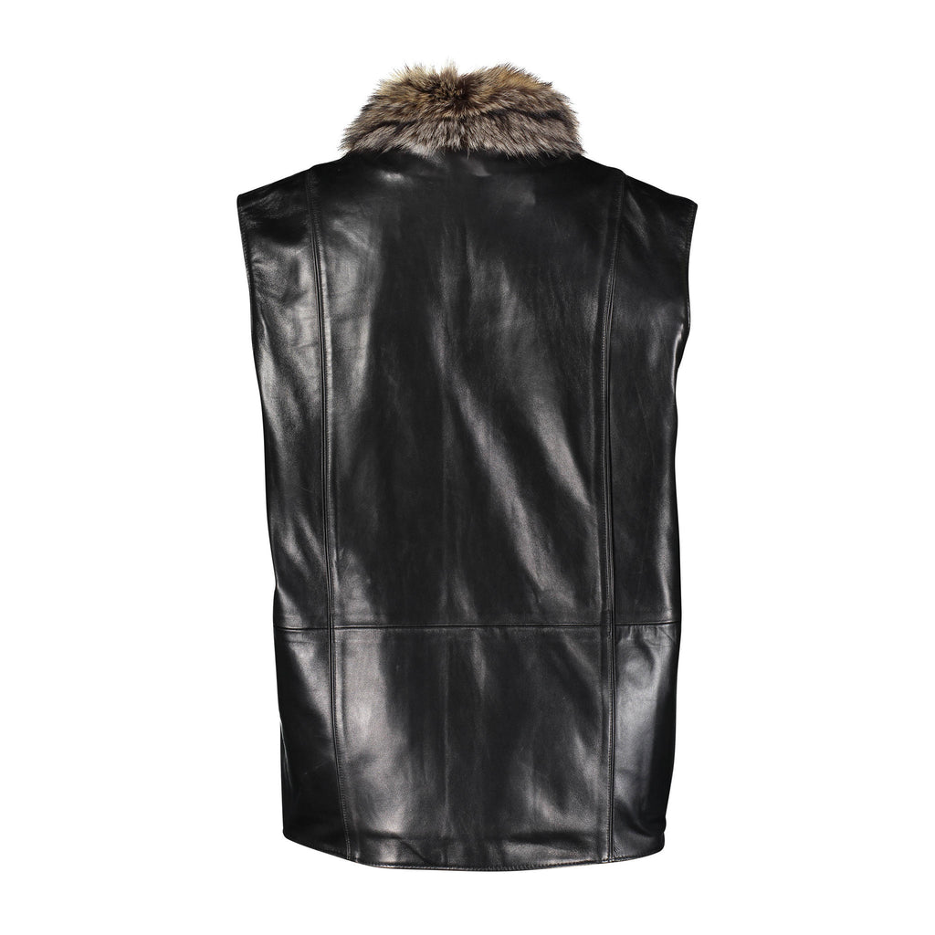 HARRY Leather vest with raccoon fur lining