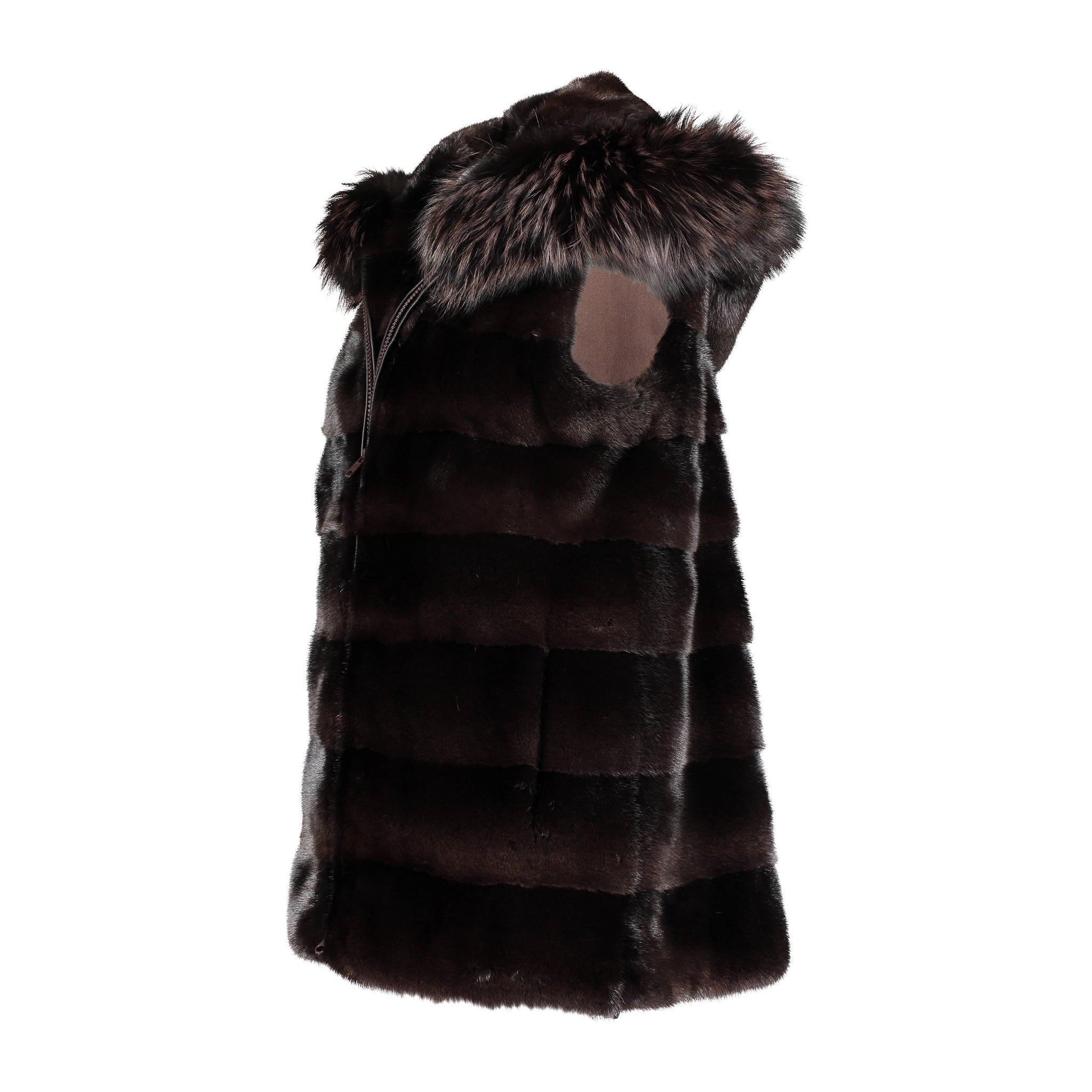 Martha mink hooded vest