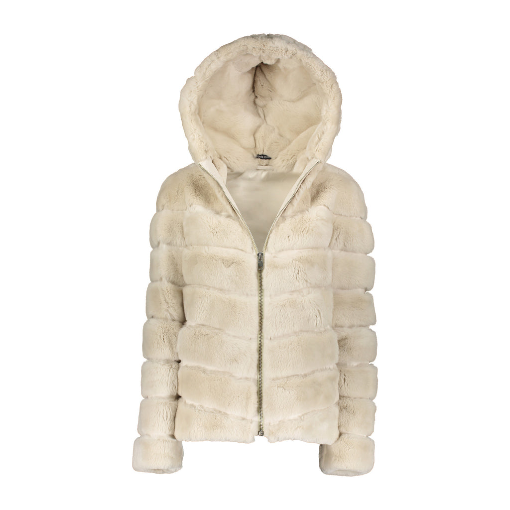 CASEY Rex rabbit fur hooded jacket