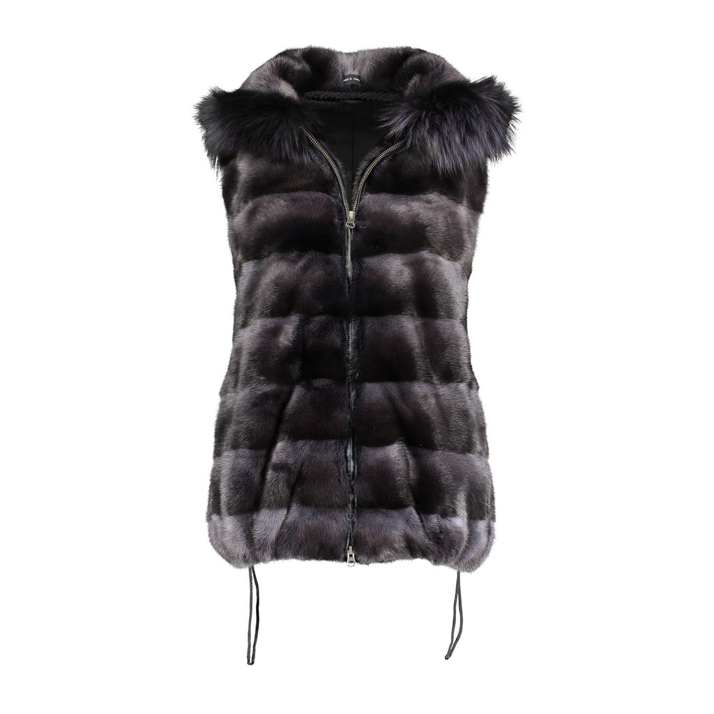MARTHA Mink hooded vest with fox fur trim
